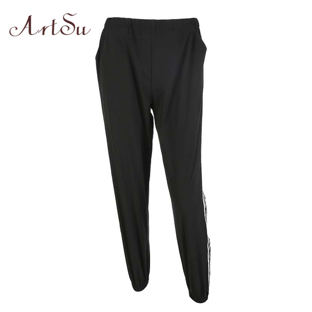 marketable buying new largest selection of ArtSu Wide leg Pants Trousers Autumn Pants Women Long Side Striped Fashion  Lady Sweatpants Drawstring Mid Waist Pants ASPA20048-in Pants & Capris from  ...