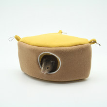 Washable Warm 1/4 Cake Shape Diamond Cashmere Small Animal Hanging Cage Hamster Cage Bed Squirrel House Hedgehog Nest Toy(China)