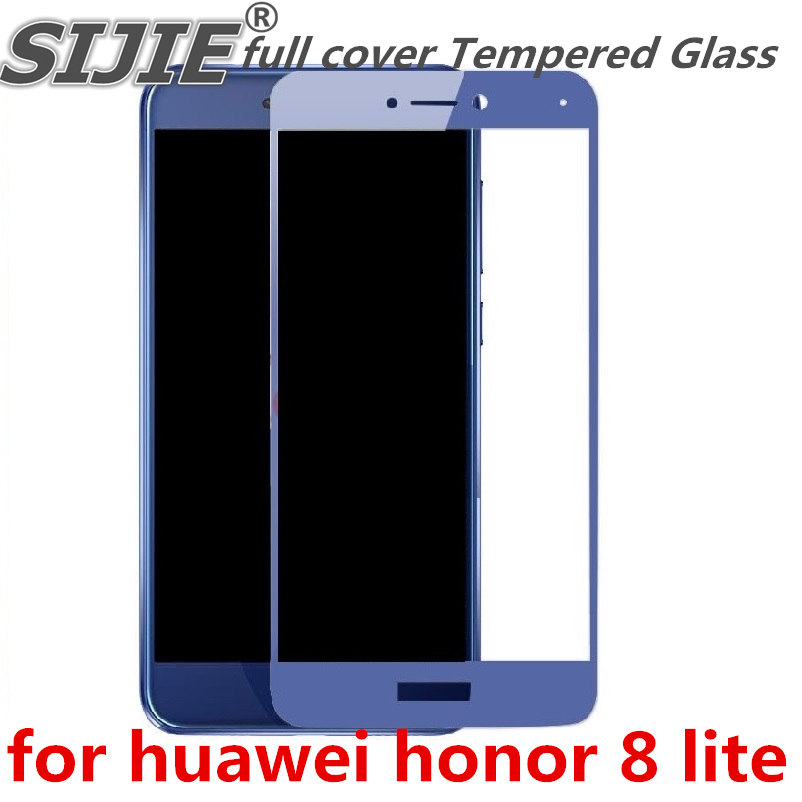 full cover Tempered Glass for huawei honor 8 lite P8 p8lite 2017 5 2 inch Screen Protective display case frame all edge blue in Phone Screen Protectors from Cellphones Telecommunications