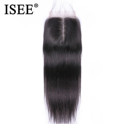 ISEE الشعر البرازيلي مستقيم الشعر إغلاق ريمي الشعر البشري 4 * 4 الجزء الأوسط شحن مجاني متوسطة البني السويسري الدانتيل إغلاق