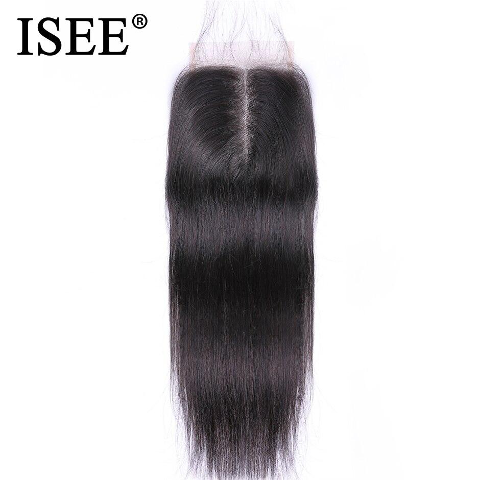 Pelo humano Remy liso brasileño de ISEE HAIR, 4x4 pulgadas, parte media, envío gratis, marrón medio, cierre de encaje suizo