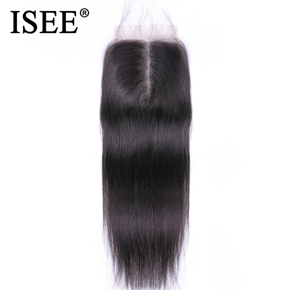 "ISEE HAIR Parul roșu brazilian de închidere Remy Păr uman 4 ""* 4"" Medie gratuită Transport maro Medium Brown Swiss Lace Closure"