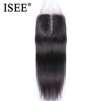 ISEE HAIR Brazilian Straight Hair Closure Remy Human Hair 4*4 Middle Part Free Shipping Medium Brown Swiss Lace Closure