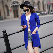 2017  spring in the women's long cardigan cashmere sweater pocket three Tiancan thin sweater female leisure