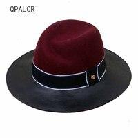 QPALCR Trend Cap Patchwork Wool Felt Jazz Fedora Hat Casual Men Women Leather Band Wide Brim Felt Hat Panama Trilby Caps