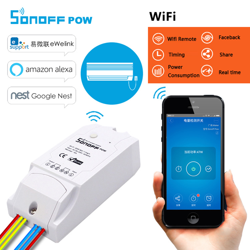 Itead Sonoff POW Wifi Smart Switch Wireless APP Timing Switch Power Consumption Measurement Automation Kit Module 16A 3500W