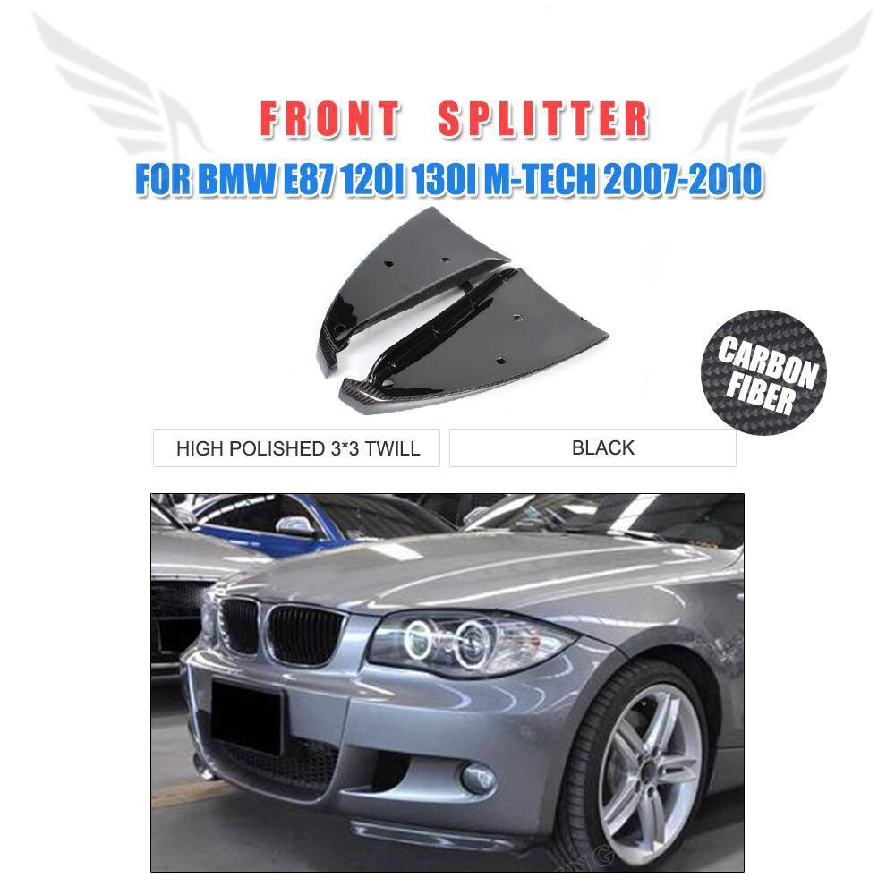 Carbon Fiber Auto Car Front Bumper Lip Aprons Splitters Flaps for BMW 1 Series E87 M Tech M Sport Bumper 2007-2010 2PCS/Set