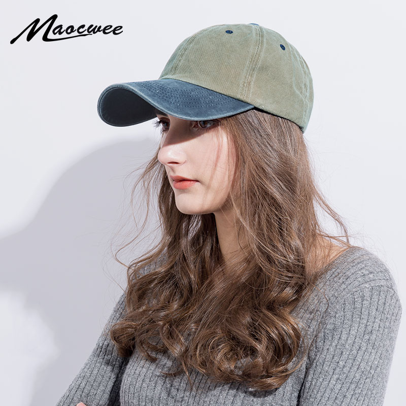 Cotton Snapback Color Matching Baseball Cap for Women Men Washed Retro Outdoor Dad Hats Cap Male Female Summer Sun Hat Type