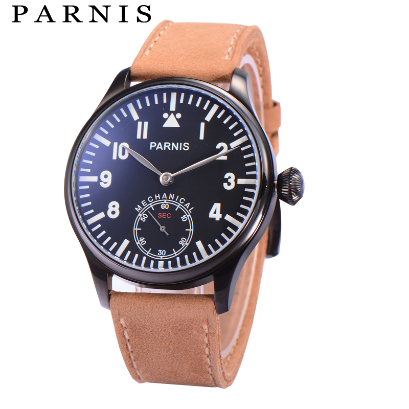 44mm Casual Watch Men Hand Winding Mechanical Watches Parnis Luminous 6498 Movement Second Chronograph Black Gold Men's Watch цена и фото