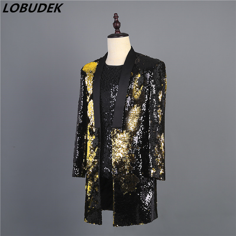 Men's Double-color Flipping Sequins Suit Jacket Stage Costume Golden Black Green Long Coat Nightclub DJ Singer Presenter Clothes