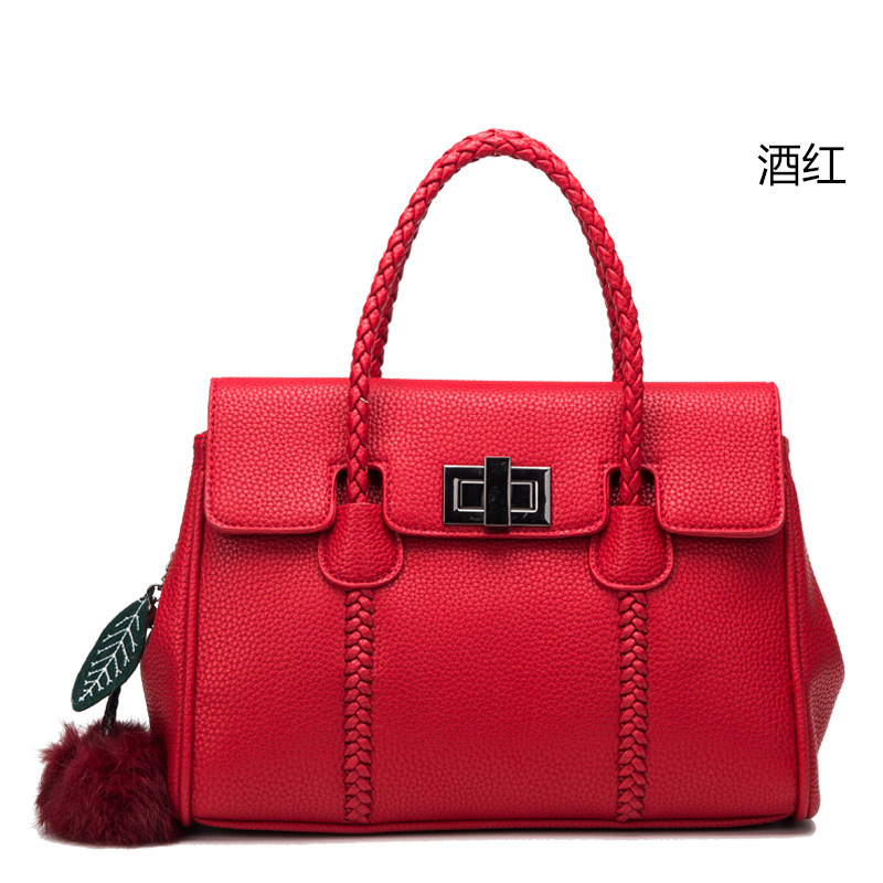 ФОТО 651118 Leather handbag litchi grain handbag shoulder bag lady platinum wrist leather handbag