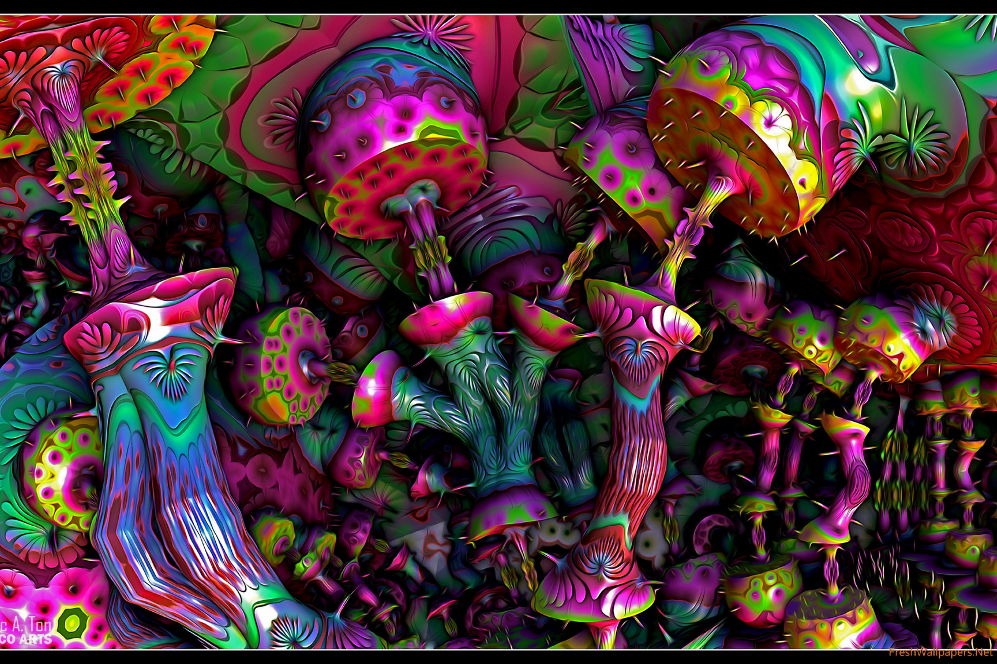 Home decoration hd psychedelic art silk fabric poster for Poster psichedelici