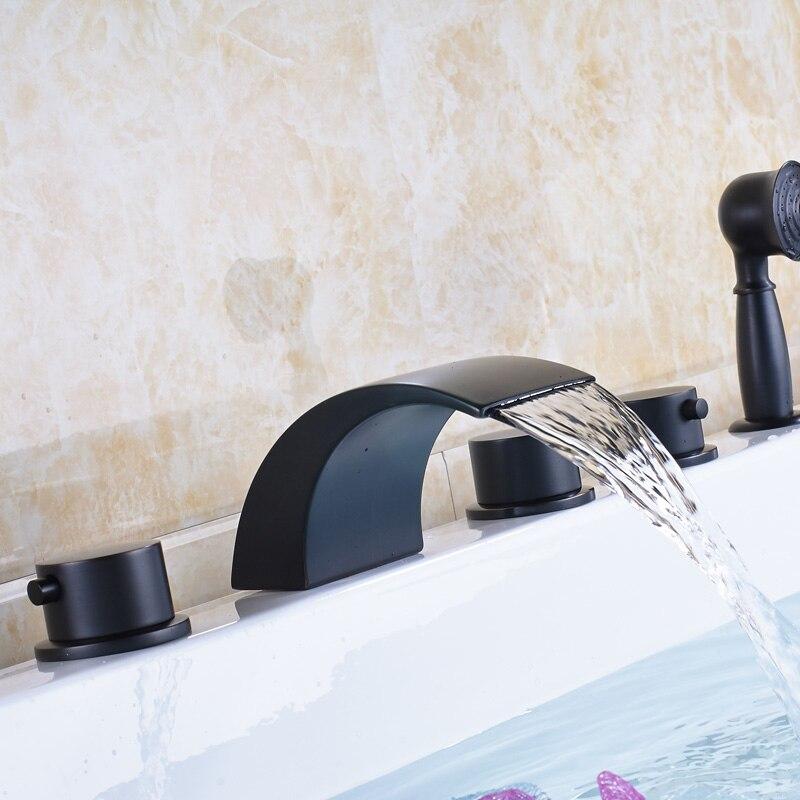 Robinet de baignoire moderne noir monté cascade 5 pc avec douchette ...