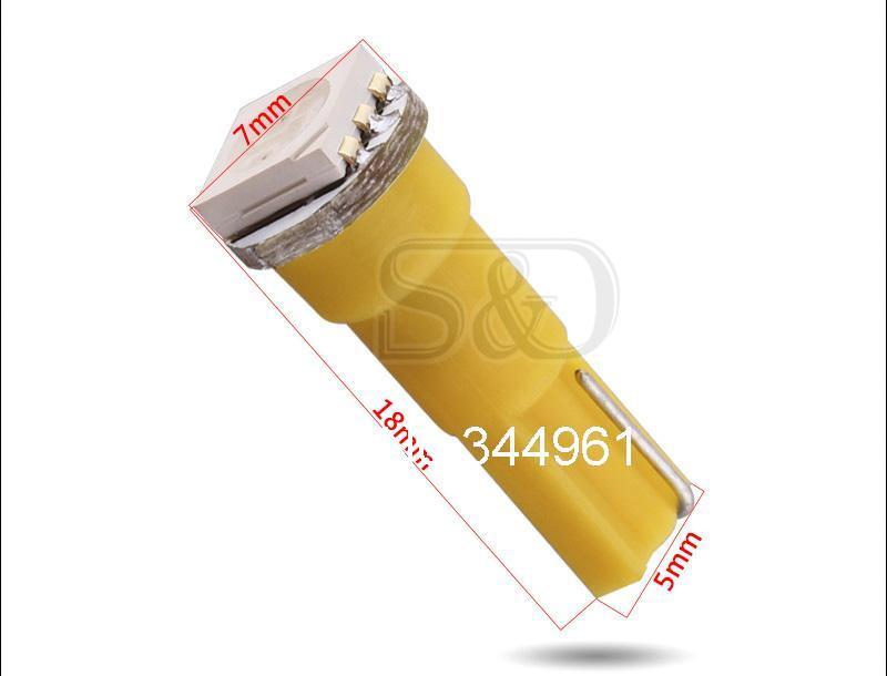 T5 1 SMD 5050 желтый светодиодный Автомобильная лампочка лампа внутреннего освещения 74 тире светодиодный автомобильные лампы автомобиля габаритный фонарь 12 V Подсветка приборной панели для автомобильных фар