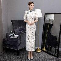 New White Print Floral Long Dress Asian Female Sexy Slim Cheongsam Chinese Classic Qipao Casual Vestidos Size S M L XL XXL
