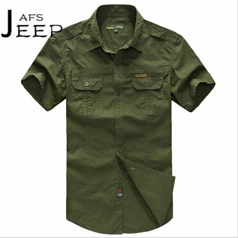 JI PU Autumn Mans Armys field active cotton shirt short sleeve, fashion band shoulder blusas,De manga corta locomotora de