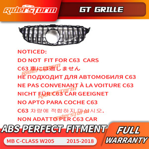 Image 5 - Gt grille For W205 Front GTR Grill for Mercedes Benz W205 c180 c200 c250 c300 c43 2015+ Grille 2019 front racing grille