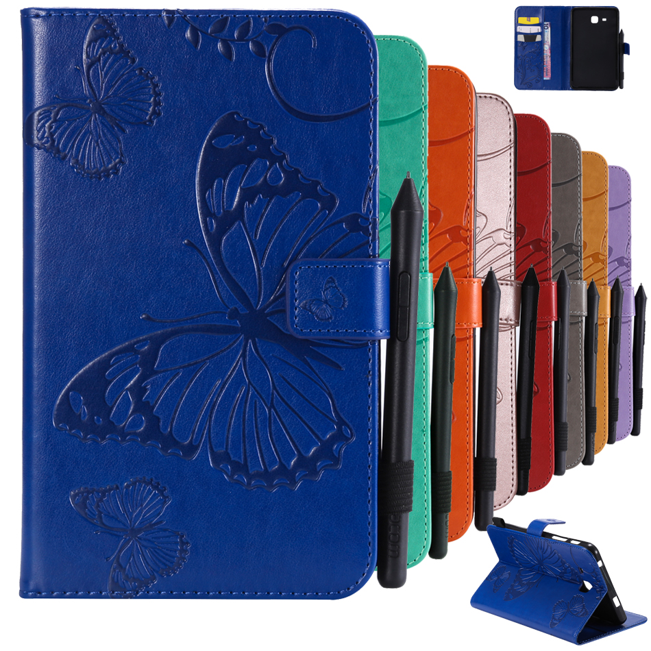 For Samsung Galaxy Tab A 7.0 T280 T285 SM-T280 Tablet Case Emboss Butterfly Leather Flip Wallet Shell For 2016 Tab A6 7.0 Cover