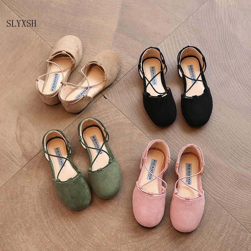 2019 Spring New Children's Fashion Casual Shoes Girls Leather Shoes Korean Ankle Wrap Cross Kids Princess Student Half Sandals