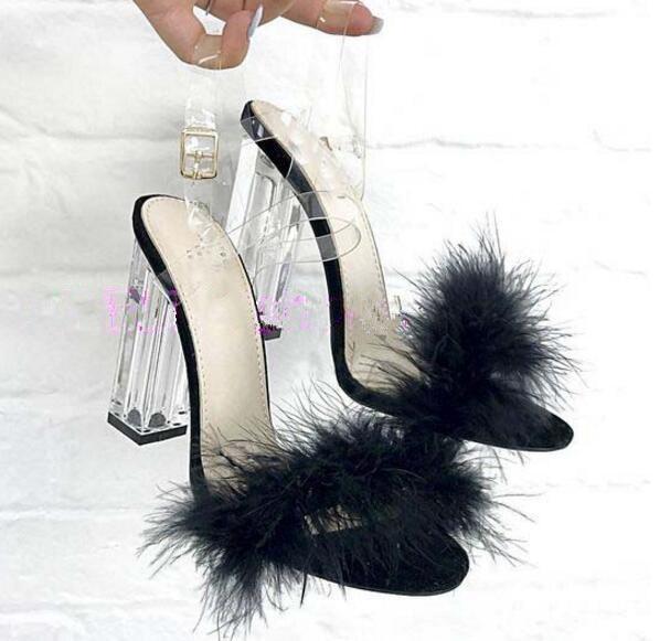 Здесь продается  Black/pink fur crystal square heels PVC straps woman sandals transparent buckle strap slingbacks summer sexy heels dress sandal  Обувь