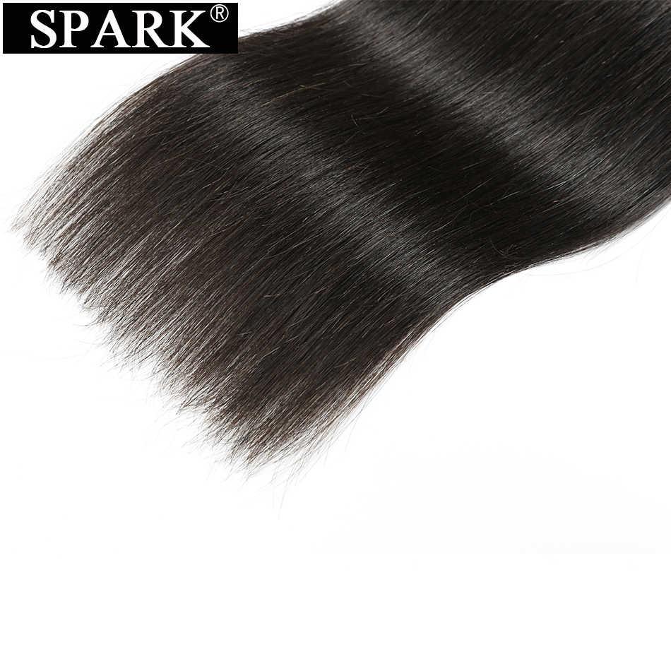 Spark прямые человеческие бразильские волосы переплетения пучки с закрытием 26 дюймов натуральный черный цвет 100% Человеческие волосы remy с закрытием