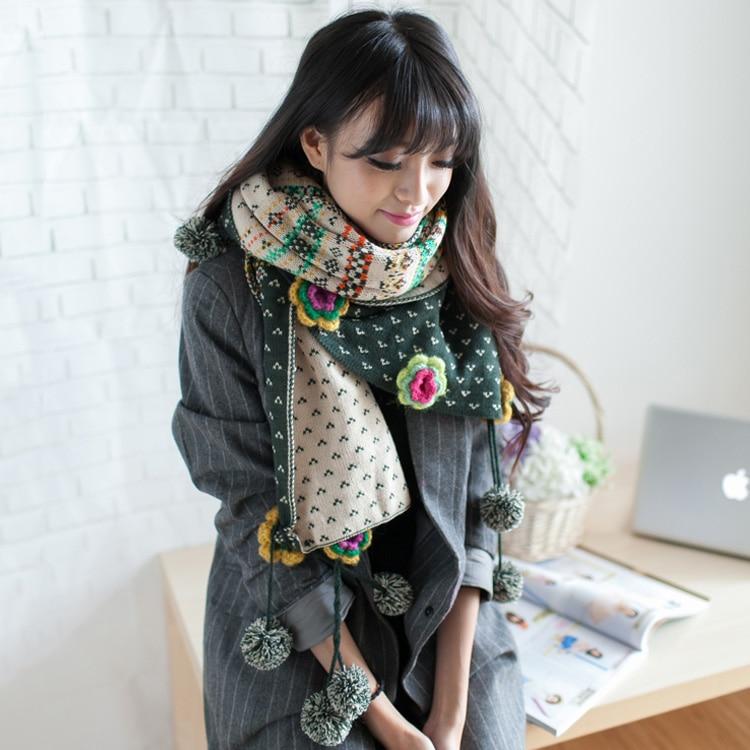 diseo de bohemia hmong bufandas invierno de las mujeres de punto bufandas largas de la gasa bufanda swap mori chica lolita mant