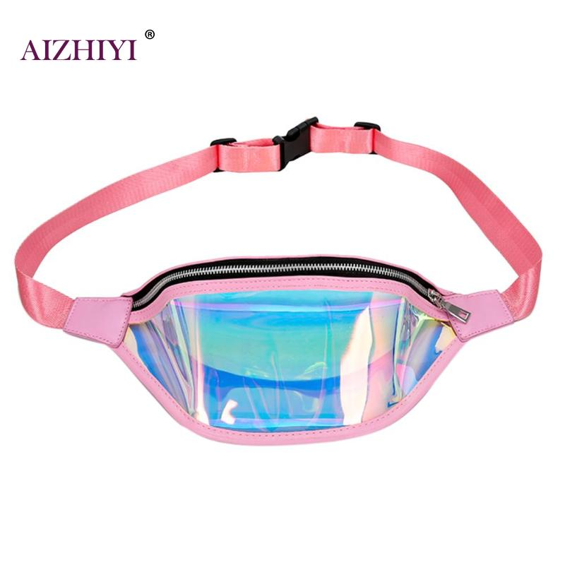 Women PVC Laser Hologram Waist Packs Fanny Pack Zipper Reflective Belt Bag Chic Clear Girls Transparent Holographic Phone Bag holographic belt purse