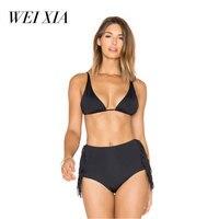WEIXIA 2018 New Arrival Black Swimsuit Women High Waist 17764 Bikini Set Padded Swimwear Push Up