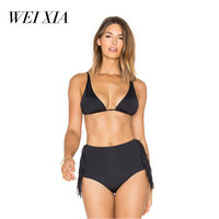 WEIXIA 2018 New Arrival Black Swimsuit Women High Waist 17764 Bikini Set Padded Swimwear Push Up