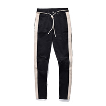 Fashion Hole Ripped Men Jeans Side Striped Line Jeans Stretch Patchwork Denim Pants Hip Hop Skinny Pencil Pants For Male недорого