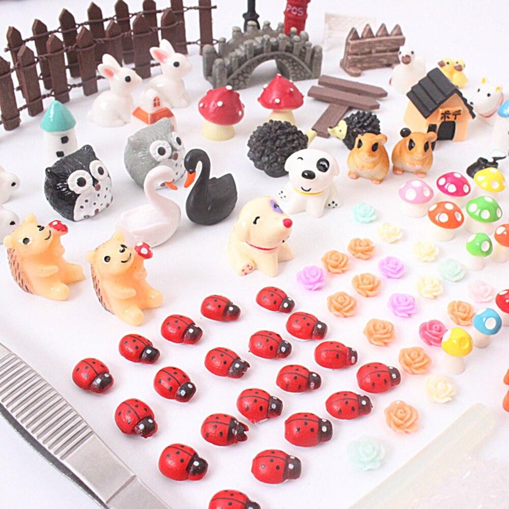 103 pièces Mini animaux ferme clôture fée jardin bâtiments Micro Figurines Miniatures/Terrarium Vintage décor à la maison bricolage