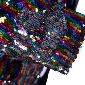 Image 4 - PYJTRL męski modny szal klapy dwustronne kolorowe cekiny długie garnitury marynarka Masculino Slim Fit mężczyźni DJ kostium piosenkarza