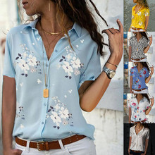 Women tops Plus Size Loose Print V-neck Short Sleeve Print Blouse Pullover Tops Shirt Blouse Women Summer Office Shirts Elegant fashionable slimming geometric print v neck blouse for women
