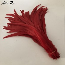 Free shipping 500pcs Red Color 30-35CM 12-14inches dyed Loose Rooster Coque Tail Feathers Tail Feathers conque feather wedding