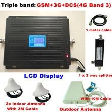 Для 2 комнаты triband 2 г 3 г 4 г GSM репитер 900 WCDMA 2100 LTE 1800 сотовый усилитель сигнала 70dB усиления GSM репитер 3 г 4 г Усилители домашние
