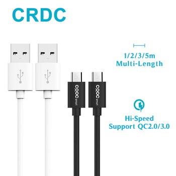 Cable Micro USB CRDC compatible con QC 2,0/3,0, 1 m 2 m 3 m 5 M cargador de alta velocidad y sincronización de datos Cables Android para Samsung HTC Xiaomi etc.