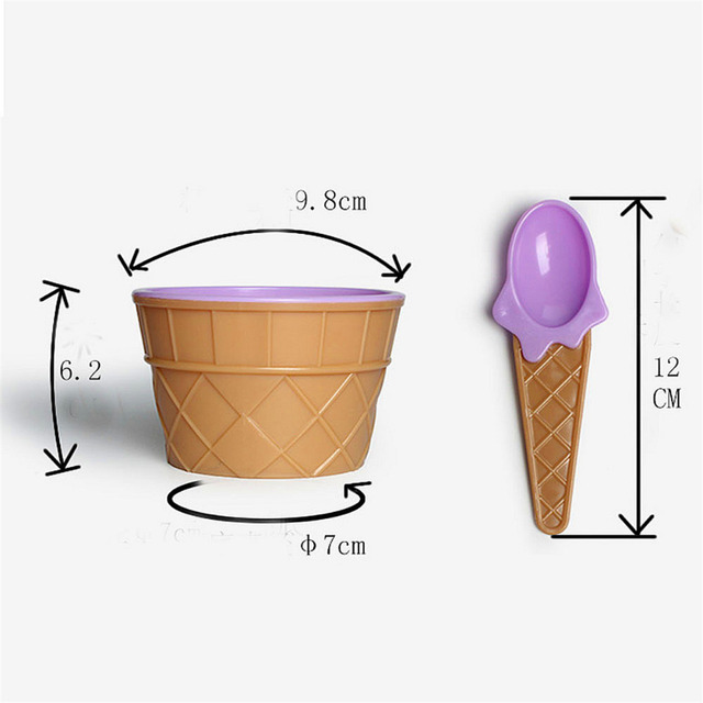 Ice cream bowl with a spoon colorful kitchen utensils