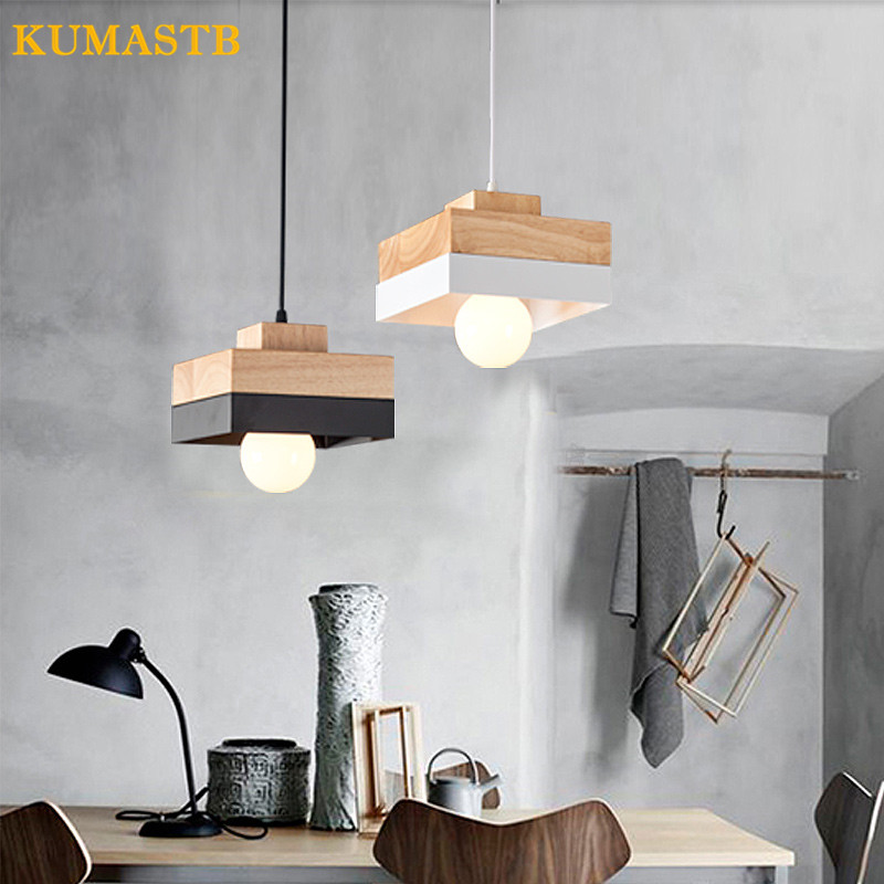 Round/Square Wood Led 27 Pendant Light Modern Nordic Minimalist Hanging Lamp For Dining Room Living Room Bedside Bar Deco Light modern nordic 7 colors carved aluminum wood geometric led e27 pendant light for dining room living room bar deco ac 80 265v 1143