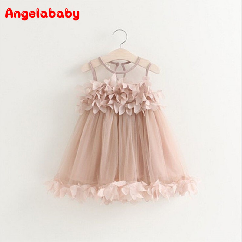 Girls Dress 2017 New Summer Mesh Girls Clothes Pink Applique Princess Dress Children Summer Clothes Baby Girls Dress