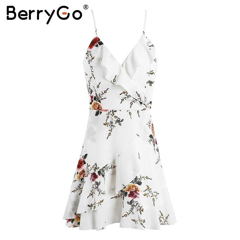 BerryGo lace up flower print summer dress women V neck ruffles bandage sexy dress Sleeveless party short dresses 3