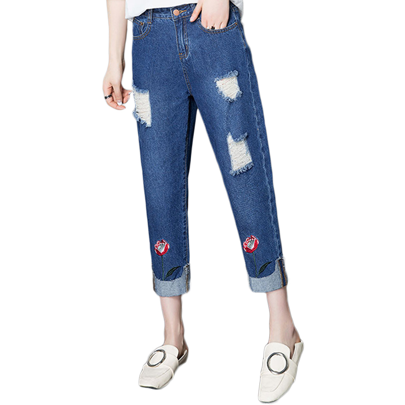 Summer Female Simple Harem Denim Pants 2017 Fashion Flower Embroidery Hole Jeans Mid Waist Vintage Retro Jeans Women Loose Pants new summer vintage women ripped hole jeans high waist floral embroidery loose fashion ankle length women denim jeans harem pants
