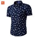 Мужская мода гавайская рубашка С Коротким Рукавом Slim Fit Рубашки Мужчины воздушный шар печатных пляж Дизайнер Рубашки camisa социальной masculina