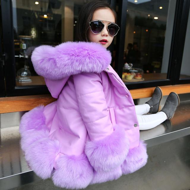 Crianças da menina PU de retalhos de couro de raposa gola de pele do falso do revestimento do revestimento para baixo casaco parkas engrossar princesa outerwear inverno da pele casaco