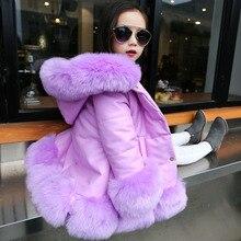 Дети девушки ИСКУССТВЕННАЯ кожа лоскутное лиса искусственного меха воротник пальто куртки вниз парки сгущает пальто принцесса зимняя верхняя одежда мех пальто