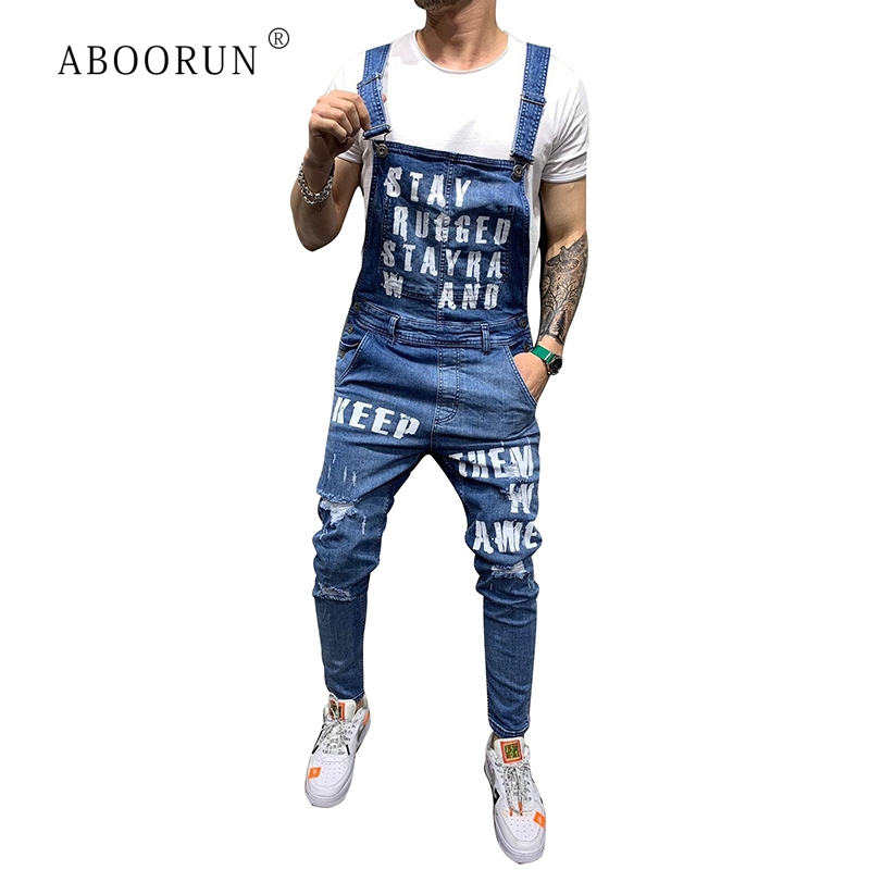 ABOORUN Men's Fashion Printed Denim Jumpsuits Blue Broken Ripped Bib Overalls Summer Slim Denim Shorts For Male R1232
