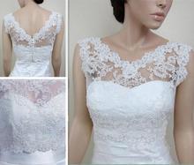 Free Shipping Lace Bridal Shawl Bolero Sleeveless Custom Size Wedding Jackets Wrap White Ivory 2017