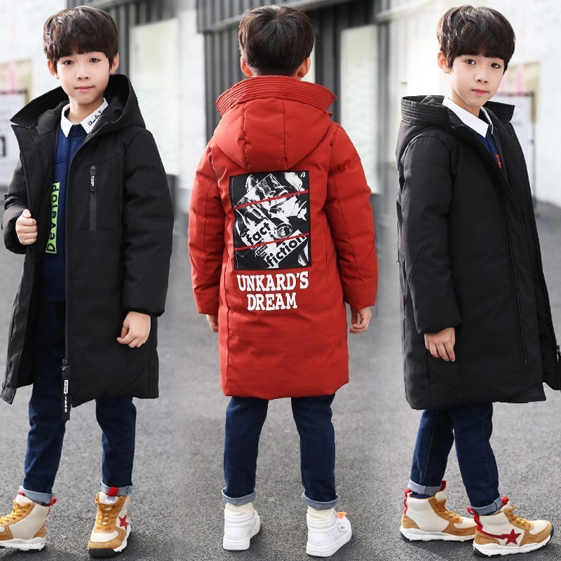 Image 3 -  30 degree children clothing boy clothes warm winter down cotton jacket Hooded coat Teen thicken outerwear kids waterproof parka-in Down & Parkas from Mother & Kids