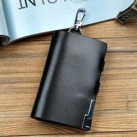 Men Genuine Leather Key Wallet , Large Capacity , Car Key Holder Case , Black Color
