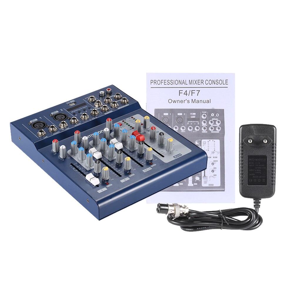 bilder für F4-USB 3 Kanal Digtal Mic Linie Mischen Mixer Console 48 V Phantomspeisung für Aufnahme DJ Bühne Karaoke Wertschätzung