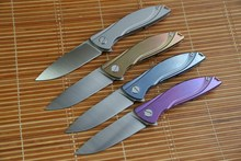 JUFULE Neon ball bearing D2 titanium flipper folding Kitchen Fruit camp hunting outdoors survive Utility Tactical knife EDC tool